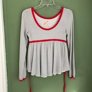 Free People Striped Long Sleeve Shirt w/Red Trim